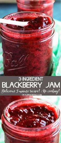 3-Ingredient Blackberry Jam is incredibly easy to make. Takes just 5 minutes & requires no cooking. Super quick & the perfect recipe for blackberry lovers. via @KleinworthCo
