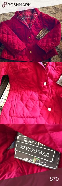 NWT Reversible Quilted Coat It's a 2 for 1! Brand NEW Jane Ashley REVERSIBLE Coat.    One side is a classic red, but reverse it for a fun red-inspired plaid! Pockets on both sides, either way you choose to wear it!  Coat hits slightly below waist.  A quilted coat is a staple piece for any closet.  Pair with jeans and a pair of riding boots to complete the look! Jane Ashley Jackets & Coats