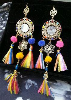 Runway Italian Multicolor Crystal tassel raffia earrings gold mirror pom poms #Handmade #DropDangle