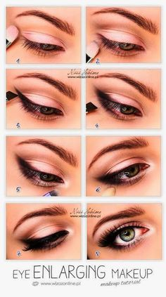Easy steps to make your eyes enlarged with a soft pink smokey eye (could use the Naked3 pallet for sure)!