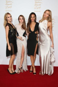 The 2014 British Fashion Awards - Poppy Delevingne, Cara Delevingne, Joan Smalls, and Karlie Kloss