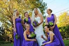 Whimsical-romantic details in purple, lime green and accents of silver were prevalent throughout the entire wedding celebration. Bridesmaids wore flowing bright purple dresses, and as they walked down the aisle, their bouquets brilliantly popped with colors that accented the color scheme. (Real Newport Wedding featured by Newport Wedding Magazine: Alison Wicks & Sean Peters at The Carnegie Abbey Club)