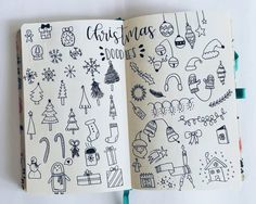 Everyone loves decorating for Christmas, so why not add a festive feel to your bullet journal or planner. Here are lots of cute Christmas doodle ideas you can draw! Bullet Journal December, Bullet Journal Doodles, Bullet Journal Christmas, Bullet Journal Ideas Pages, Bullet Journal Inspiration, Journal Pages, Journals, Doodle Drawings, Doodle Art