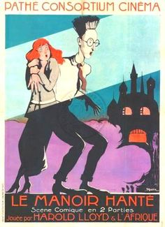 """French poster for Harold Lloyd's """"Haunted Spooks"""" 1920"""