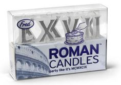 Wish your friends happy birthday without crowding the cake, with these Roman numeral birthday candles