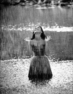 "fybombshells: "" The glorious Pier Angeli "" Walking In The Rain, Singing In The Rain, Rain Dance, Smell Of Rain, I Love Rain, Rain Photography, Summer Rain, Rain Fall, Summer 3"