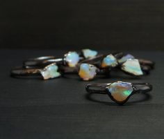 Untreated natural Australian raw Opal ring. Dainty ring. Small, completely raw, rainbow shimmering stone, sourced directly from a South Australian