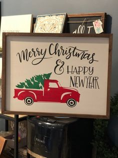 Merry Christmas and Happy New Year Truck SVG file - handlettered SVG design - sign making SVG - Viny Happy New Year Signs, Merry Christmas And Happy New Year, Office Christmas Decorations, Sign Design, Cricut Ideas, Svg File, Office Decor, Truck, How To Make