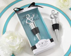 "Mr. & Mrs. Bottle Stopper - engagement party gift to go with a special ""anniversary"" bottle of wine"