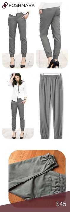 """Banana Republic Grey Menswear-Inspired Joggers Banana Republic Grey Menswear-Inspired Joggers. Size 8 Petite. Elastic Waist. Side slash pockets. Back pockets. Comfy and sexy. Looks great with black stilettos or go """"street wear"""" with cool sneakers (see the Black & Snake Filas in My Closet). Banana Republic Pants Track Pants & Joggers"""