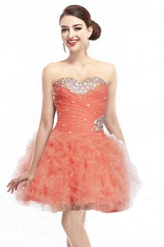 Ball Gown Sweetheart Short-Mini Organza Orange Lace Party Dress