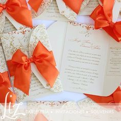 Coral - Orange Love ♡ Jennifer + Edmanuel - Invitaciones de boda - tarjeteria - coral - gold - beige - dorado - ivory - lazo - bow - wedding cards - invitations - cards - hand made - hecho a mano - bride - weddingstuff