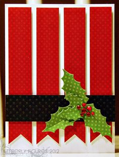 Another pinner wrote: handmade Christmas card . red fishtail banners for striped background . black belly band with red polka dots . holly leaves and berries . luv the almost grpahic look . Christmas Cards To Make, Noel Christmas, Christmas Paper, Xmas Cards, Christmas Greetings, Handmade Christmas, Holiday Cards, Christmas Crafts, Christmas Movies