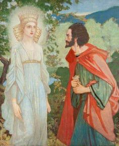 Merlin and the Fairy Queen ~ John Duncan (Scottish 1866-1945)