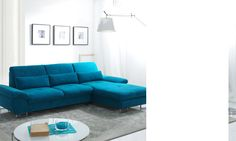 Canapé d'angle convertible en tissu bleu azur LUCIANO, avec coffre de rangement