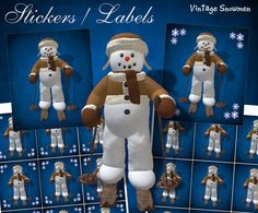 Charming Skiing Vintage Snowman Stickers - Digital Download by DinkyPrints