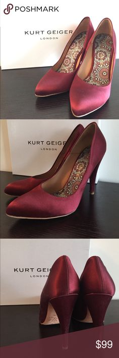 Kurt Geiger London Erika Pumps Amazing Kurt Geiger Erika Wine Satin Pumps MADE IN ITALY.  Perfect for a night out!  Very good condition.  I purchased these in London and have only worn them once, am selling all my heels so sadly I have to say goodbye to these beauties too!  I don't think you can tell that it's been worn unless you look at the bottom (you can see the condition from the photos).  Complete with extra heel replacement, dustbag and box ready to go! Kurt Geiger London Shoes Heels