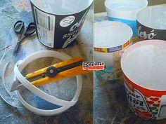 Pentart dekor: Tejfölös vödörből szobanövény kaspó Toothbrush Holder, Vintage, Vintage Comics