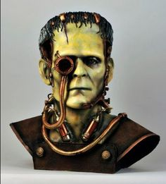 """via The """"IT'S ALIVE"""" Project, several busts of Frankenstein's Monster, each with a different artistic distinction. Mary Shelley Frankenstein, Victor Frankenstein, Bride Of Frankenstein, Horror Tale, Horror Movies, Hybrid Moments, Asylum Halloween, The Modern Prometheus, Steampunk Halloween"""