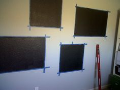 Pig and Paint: Using Chalkboard Paint on Heavily Textured Walls I seriously needed to know this before I sanded my wall! Black Chalkboard Paint, Black Chalk Paint, Diy Chalkboard, Chalkboard Drawings, Chalkboard Wall Bedroom, Chalk Wall, Chalk Board, Capiz Shell Chandelier, Desks