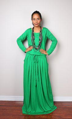 Kelsey Green Maxi Dress   Long Sleeve dress : Autumn by Nuichan
