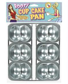 Booty Cup Cake Pan - Pack of 6  $15.95  Bite size butt-cakes! The Booty Cup Cake Pan has six metal butt shaped holders. Fill with your favorite cake mix and let your friends personalize their asses just he way they want them. Makes a great bachelorette activity!