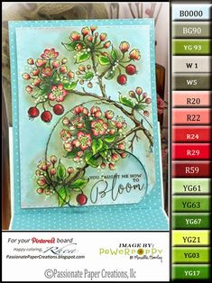 Copic Marker Flowering Branches Free Color Palette and a tutorial book for sale by: Passionate Paper Creations: Power Poppy - Flowering Branches