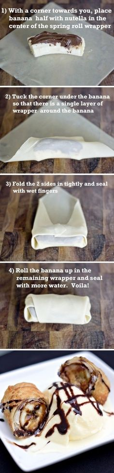 DIY Banana Nutella Dessert Rolls.  I've made a similar dessert using chocolate syrup inside, but Nutella sounds awesome!