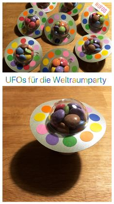 Space Party - Mrs Lessmore- Weltraumparty – Mrs Lessmore Make sweet UFOs for the Kinsburg birthday, for the candy bar or as a giveaway. Alien Party, Astronaut Party, Birthday Treats, 9th Birthday, Birthday Parties, Birthday Candy, Space Party, Space Theme, Space Space