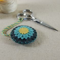 Handmade Wool Felt Scissor Fob - use stitching method for flower in other applications