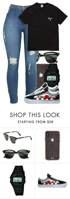 """""""Untitled #5913"""" by rihvnnas ❤ liked on Polyvore featuring Ray-Ban, Sonix, Casio and Vans"""