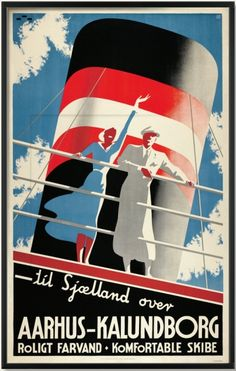 Ferry from Jutland to Sealand: Aarhus-Kalundborg, 1935. By Henry Thelander.