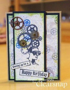 tami sanders shares a masculine birthday card featuring ColorBox Archival Dye Ink and Stephanie Barnard Premium Dye Ink Sprays! stamps from Stampendous  http://blog.clearsnap.com/2014/01/gear-head-masculine-birthday-card-tami-sanders/