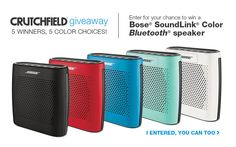 I just entered the @Crutchfield Sweeps for a chance at 1 of 5 Bose Soundlink Color BT speakers. You can too – #GGGEntry #win