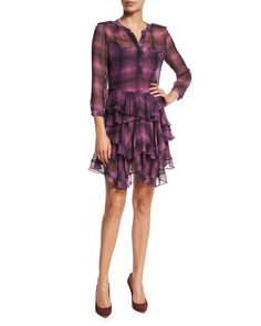 Long-Sleeve Plaid Ruffle Dress, Berry, Berry Combo - Rebecca Taylor
