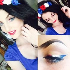 Festive Flower halo; @madforhalos ❤️ also on my eyes in using @limecrimemakeup #lunarsea (white liner) Everyone celebrating Fourth of July have a great one and be safe