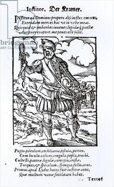 """The Pedlar from """"Panoplia Omnium"""", 1568, Hartman Schopper, Frankfurt"""