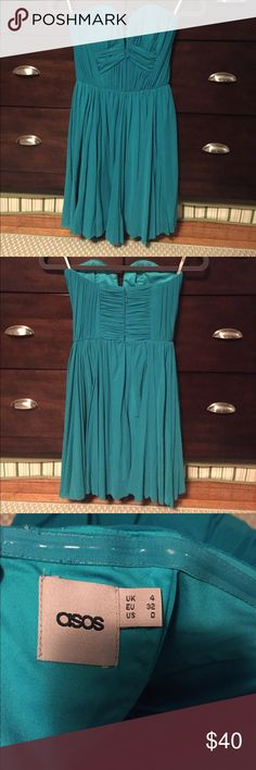 Strapless Asos dress, turquoise. Strapless, turquoise Asos dress. Never been worn and in very good condition. ASOS Dresses Strapless