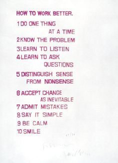 HOW TO WORK BETTER, 1991-2000 - FISCHLI/WEISS  SCREEN PRINT ON PAPER   69,8 X 49,8 CM