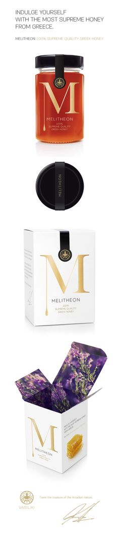 Melitheon Packaging Design by Aris Goumpouros. Love the surprise & delight when you open the top flap. Skincare Packaging, Brand Packaging, Cosmetic Packaging, Product Packaging, Stationery Design, Branding Design, Logo Design, Packaging Design Inspiration, Graphic Design Inspiration