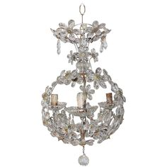 Crystal Prisms Ball Flowers French Chandelier | From a unique collection of antique and modern chandeliers and pendants  at https://www.1stdibs.com/furniture/lighting/chandeliers-pendant-lights/