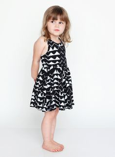 Mountain Twirling Dress in White on Black | Thief and Bandit Kids Etsy