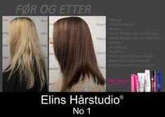 Gylden blond langt hår til brunette med colormelting fargeteknikk