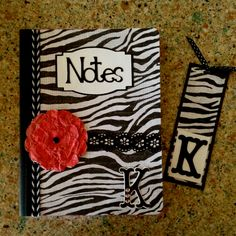 Altered/personalized Composition Book and matching bookmark