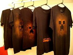 I love this for Halloween shirts--spray bleach on a black shirt and it will turn orange! Make templates with good ol' freezer paper.