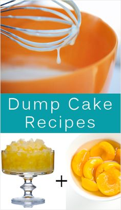 "26 Quick & Easy Dump Cakes Recipes - What are they? They're usually made with a boxed cake mix (or from scratch) and canned or fresh fruit of some kind. They can also include other goodies such as nuts, flaked coconut, flavored Jell-o, etc.  Ingredients are typically just ""dumped"" into an ovenproof 9″ x 13″ baking dish, mixed together then popped in the oven to bake."