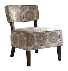 Homelegance 1191F6S Armless Accent Chair Beige with GreyBrown Medallions Print Fabric * You can get additional details at the image link.Note:It is affiliate link to Amazon.