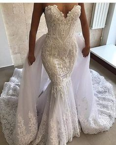 Sexy Mermaid Wedding Dress 2 in Appliques Sweetheart Bridal Wedding Gowns with Detachable Skirt Robe De Mariage