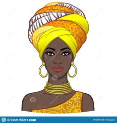 Animation portrait of the young beautiful African woman in a turban. Vector illustration isolated on a white background. Print, poster, t-shirt, card. African Drawings, African Art Paintings, African Girl, African American Art, African Men, African Style, African Attire, African Dress, Black Girl Art