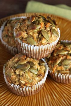 Healthy Morning Glory Muffins - a delicious way to start the day; carrots, zucchini, banana, pumpkin seeds...